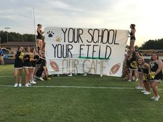 Why don't we hold the signs like this? High School Football Games, Football Banner, Football Signs, Football Cheer, Football Posters, School Spirit Posters, Cheer Posters, Cheer Sister Gifts, Cheer Gifts