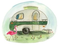 Retro caravan reproduction print Yvonne by jensingh on Etsy, $20.00