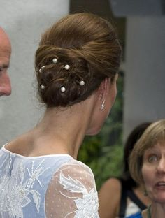 Kate Middleton Bobby Pinned updo kept her swirly hairstyle in place with elegant pearl-accented bobby pins.