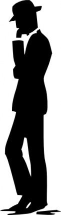 Vitaly A Gelfand | Man Walking Talking On Cell Phone Silhouette clip art