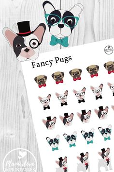 What's cuter than fancy pugs in bow ties? Trick question: Nothing! Printable fancy pug stickers for your planner! Free Printable Stickers, Free Printable Worksheets, Free Printables, Free Planner, Printable Planner, Planner Stickers, Pug Puppies, Pugs, Pug Life