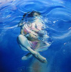 Ces peintures de gens qui s'amusent dans l'eau sont de Sarah Harvey.