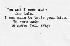 To never fall away...