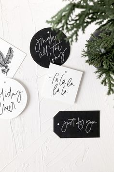 Free Printable Holiday Gift Tags to Uplevel Your Gifts is part of Free printable christmas gift tags, Christmas gift tags printable, Holiday gift tags printable, Free christmas tags, Christmas gift st - Free Printable Christmas Gift Tags, Free Printable Tags, Holiday Gift Tags, Christmas Gift Wrapping, Christmas Gifts, Diy Gift Tags, Free Printables, Santa Gifts, Red Black