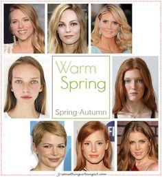 Warm Spring, Spring-Autumn seasonal color celebrities by 30somethingurbangirl.com