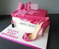 Jimmy Choo shoe box and pink stiletto 21st birthday cake