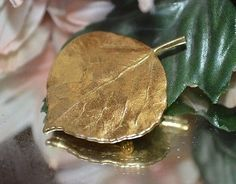 Genuine 24KT Gold Dipped COLORADO Aspen Leaf Brooch Pin VINTAGE Fashion Jewelry