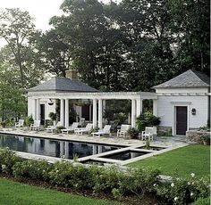 Bridgewater, Connecticut - White pillars and wood. Elegant with the pool and two. - Bridgewater, Connecticut – White pillars and wood. Elegant with the pool and two side buildings. Outdoor Rooms, Outdoor Living, Outdoor Kitchen Patio, Outdoor Furniture, House Furniture, Pool Cabana, Pool Landscaping, Pool Designs, Beautiful Homes
