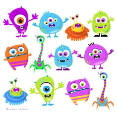 Monster Clipart Clip Art Digital Monster Cute Little Silly Monsters Funny Monster banners, For his rooms