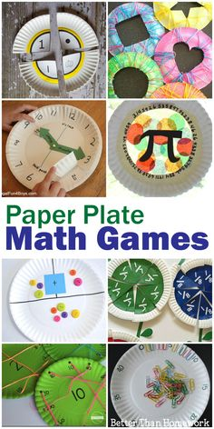 All of these math paper plate games are easy to make and can turn math into a fun, hands-on activity. You& find activities for all elementary grades. Math Activities For Kids, Fun Math Games, Math For Kids, Hands On Activities, Math Resources, Math Strategies, Reading Activities, Summer Activities, Reggio Emilia