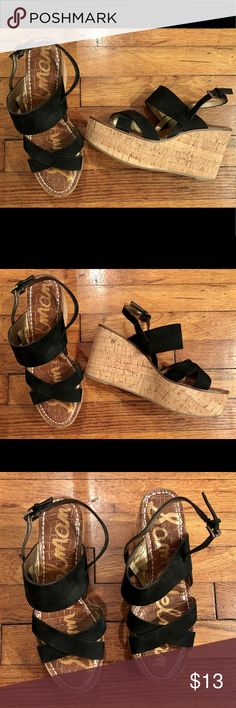 Sam Edelman Black Faux Suede Wedges Black strappy upper with cork lower. Sam Edelman Shoes Wedges