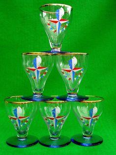 6 BOXED RARE GLASSES FESTIVAL OF BRITAIN 1951 VINTAGE RETRO BAR TEA SHOP | eBay