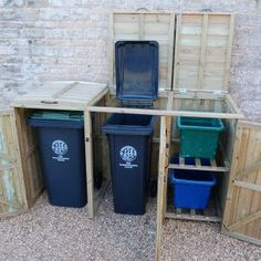 wheelie bin store and recycle box store combination