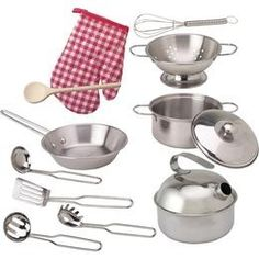 Realistic stainless-steel set of toy pots & pans from Alex Toys includes utensils and an oven mitt, providing lots of options for make-believe play. $39.95 #imaginetoys