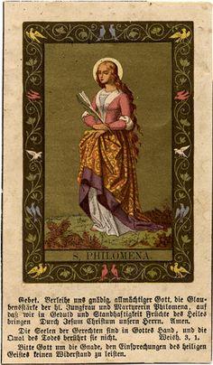 ©Universal Living Rosary Association of Saint Philomena Holy Card 014 Catholic Doctrine, Catholic Art, Catholic Saints, Roman Catholic, Christianity, Religious Icons, Religious Art, Catholic Wallpaper, Saint Philomena
