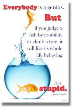 Everybody's a Genius but if you judge a fish by its ability to climb a tree, it will live its whole life believing it is stupid - Albert Einstein