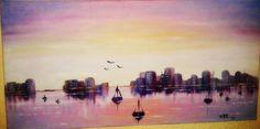 Paisaje imaginado pintado a óleo sobre lienzo Agosto 2014