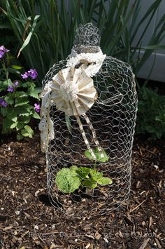 She wraps chicken wire around in a circle and a few steps later.I LOVE this garden idea! Chicken wire cloches are easy to make. They just take a little time and patience. They are great for protecting plants in the garden from visiting critters. Chicken Wire Crafts, Cool Chandeliers, Old Lamp Shades, Making Paper Mache, Garden Globes, Cool Shapes, Hanging Pictures, Easy Projects, Craft Projects