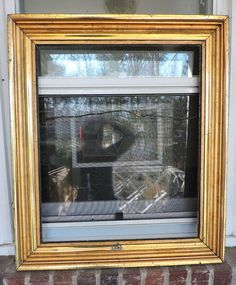 antique shabby victorian lemon gold carved picture frame 19 12 x 24 c1860