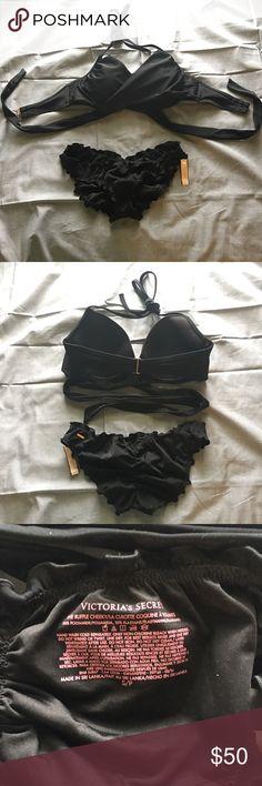 Victoria's Secret swim suit NWOT Victoria's Secret wrap swim top size 32DD.  NWT Victoria's Secret ruffle cheeky bottoms size small. Victoria's Secret Swim Bikinis