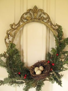 Old frame repurposed into an beautiful Christmas wreath