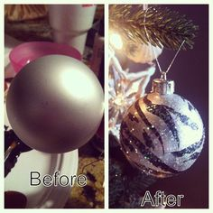 I'm no artist, but with a little paint and some glitter, I transformed several plain, gray and gold ornaments