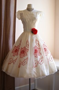 1950's silk organza party dress with embroidered red flowers!