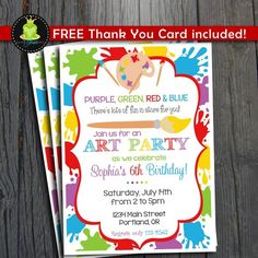 Printable painting art party birthday invitation rainbow kids art party invitation free thank you card by foreveryourprints stopboris Images