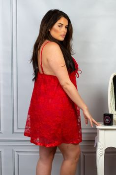Perfect4U Red Lace /& Mesh Nightwear Babydoll with Matching Thong 18,20,22,24,26,28,30,32