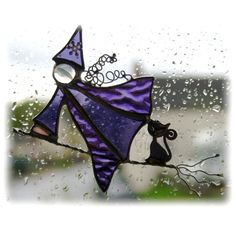 Witch on Broomstick Suncatcher Stained Glass Handmade Cat Magic Spells £11.00