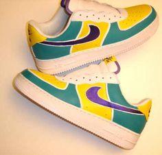 Yellow Aqua Navy Custom Painted AF1 Sneakers
