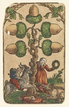 """""""5 of Acorns"""" from """"The Playing Cards of Peter Flötner,"""" published by Hans Christoph Zell (Nuremberg, 1540), woodcut on paper with watercolor, opaque paint, and gold, 4 1/8 x 2 3/8 inches (© Germanisches Nationalmuseum, Nuremberg, photo by Georg Janssen)"""
