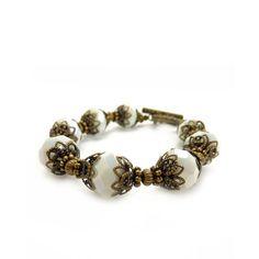 Pulsera de cuentas blancas  bohemio joyas  por RockStoneTreasures, $42.00