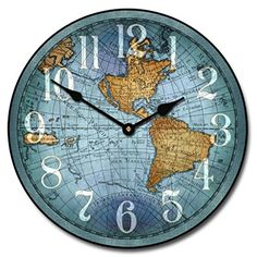 Wooden wall atlas world map globe pendulum clock vintage kitchen vincenzo blue world map wall clock 10 60 whisper quiet nonticking click on publicscrutiny Images