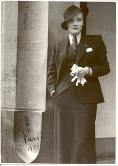Marlene Dietrich pushing fashion boundaries. Love ...love  The suit with a long fitted skirt with necktie and pocket square.