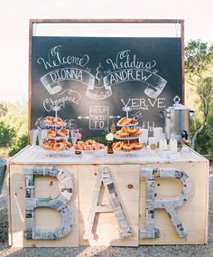 "Love the ""BAR"" sign and the brunch wedding layout. A Breakfast Wedding Bar with Pastries, Champagne, and Local Coffee! Dessert Bar Wedding, Brunch Wedding, Mod Wedding, Wedding Desserts, Dessert Bars, Wedding Decorations, Wedding Buffets, Wedding Shoes, Green Wedding"