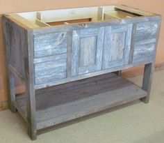 Reclaimed Barn Wood Bathroom - traditional - bathroom vanities and sink consoles - other metro - Vienna Woodworks Reclaimed Wood Bathroom Vanity, Reclaimed Wood Floors, Wood Sink, Reclaimed Furniture, Weathered Wood, Pallet Vanity, Bathroom Basin Cabinet, Bathroom Vanities, Bathroom Ideas