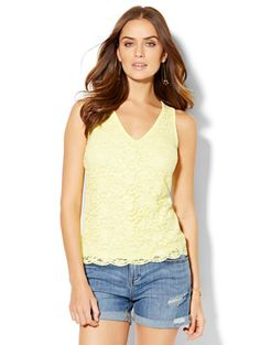 Shop Eyelet V-Neck Top . Find your perfect size online at the best price at New York & Company.