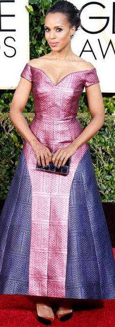 Who made Kerry Washington's jewelry, clutch handbag , and purple off the shoulder gown that she wore to the 2015 Golden Globes?
