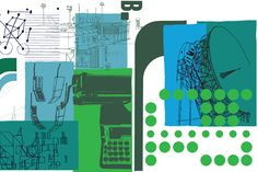 Stephen Smith of Neasden Control Centre created 8 metre large format illustrations for the re-design of Pearson's (http://www.pearson.com/) office in London. Read more about NCC here: http://www.ba-reps.com/artists/NCC
