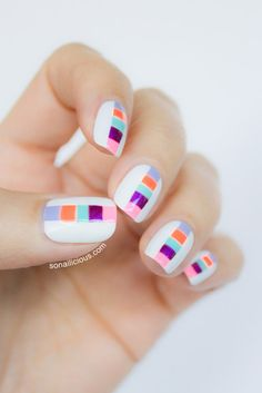 Summer nails.  Click for manicure details. #nailart #nails