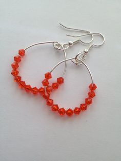 Orange Crystal Earrings by SharonKrug on Etsy, $12.95
