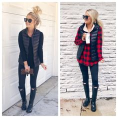 Go-To Fall Outfits – Living My Best Style Cute Women casual winter outfits Vest Outfits For Women, Best Casual Outfits, Clothes For Women, Work Outfits, Ladies Clothes, Easy Outfits, Black Women Fashion, Look Fashion, Autumn Fashion