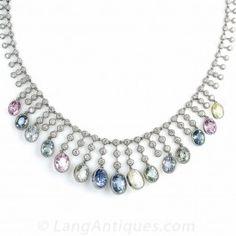 Multi-Color Natural No-Heat Sapphire and Diamond Vintage Necklace
