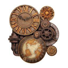 Wall Clock Gears Steampunk Industrial Vintage Sculptural Art Stone Retro Style   #DesignToscano #RusticPrimitive