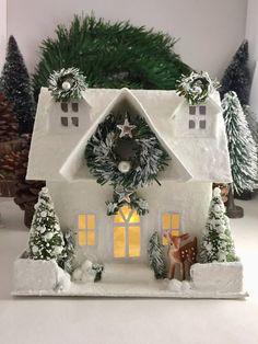 Christmas Glitter House, Putz House, The Mark, 6 Tall Lighted Glitter House, Christmas Village Christmas Village Houses, Putz Houses, Christmas Villages, Christmas Door, Christmas Lights, Christmas Crafts, Christmas Ornaments, Christmas Glitter, Christmas Presents