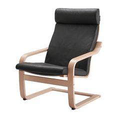 IKEA - POÄNG, Istuin-selkänojapehmuste lepotuol, Smidig musta, , Pehmeää…
