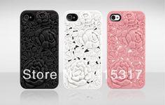 Free Shipping! Wholesail 10pcs/lot Retro Luxury Elegant 3D Sculpture Design Rose Flower Hard Cover Case For iphone 4 /4S $51.72