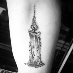 Amazing linework candle tattoo, by Eve Eve candletattoo linework candle blackwork