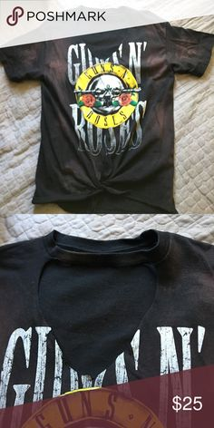 Bleached Guns N' Roses tshirt large Too small. Never used but it has been washed. Cut out choker style neck & tie waist. Tops Tees - Short Sleeve